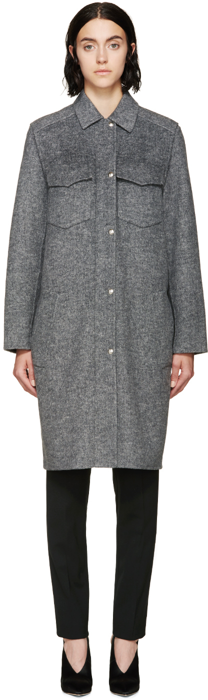 Alexander wang Grey Melange 2_in_1 Car Coat in Gray | Lyst