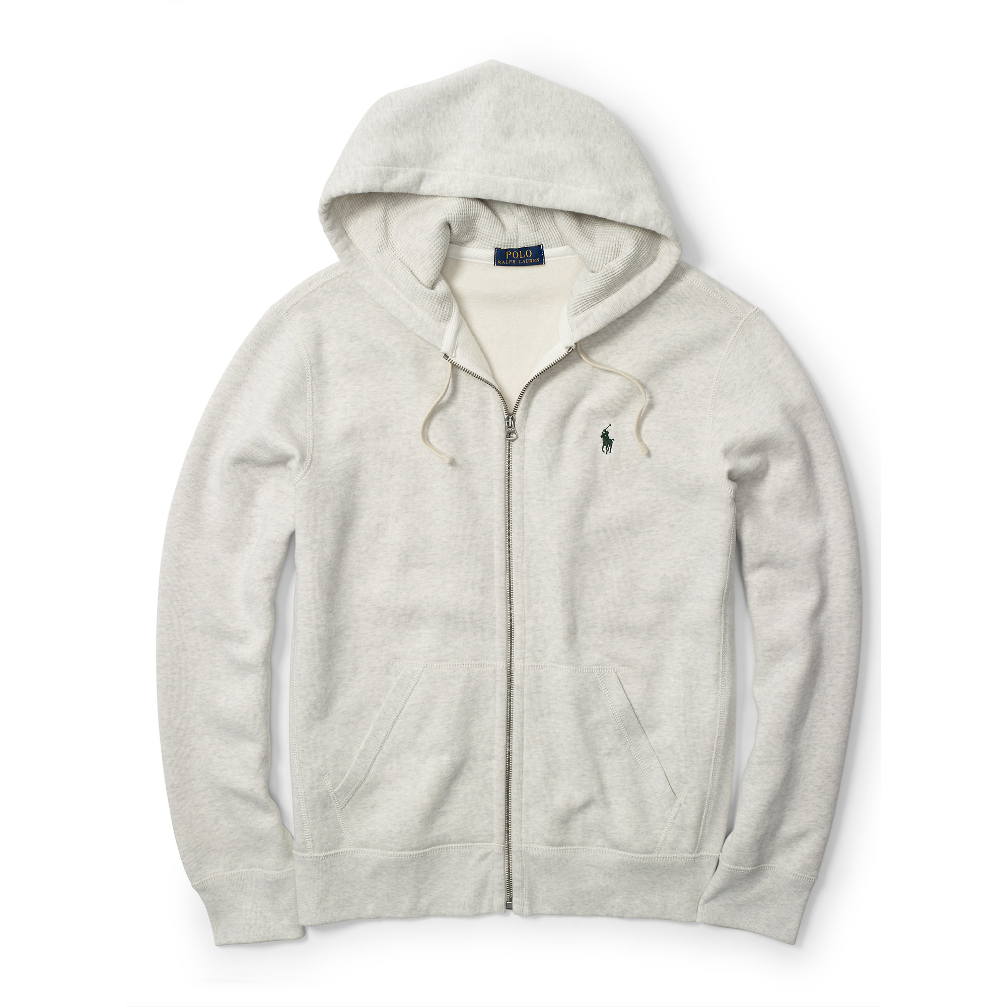Polo ralph lauren Fleece Full-zip Hoodie in White for Men | Lyst