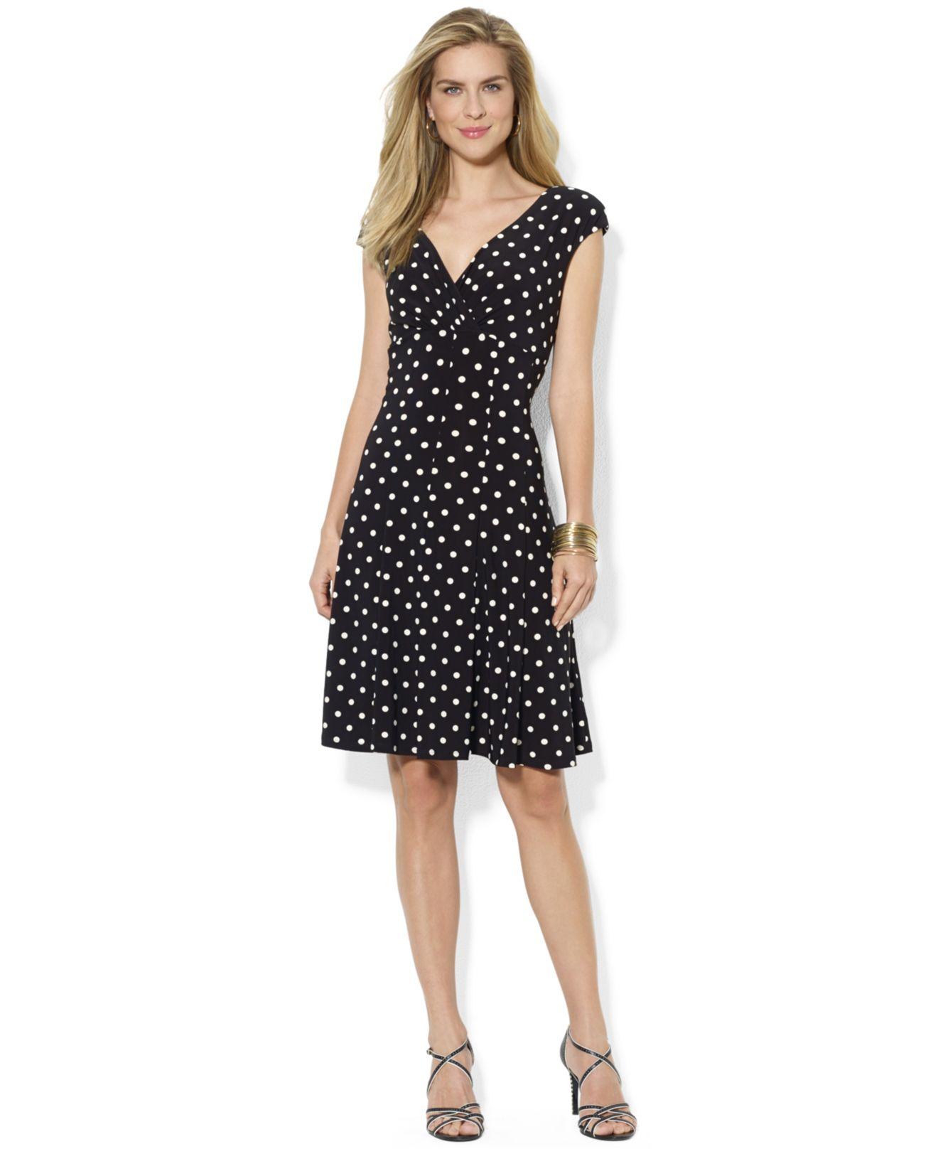 d14bf925c878 Lyst - Lauren by Ralph Lauren Petite Polka Dot Print Dress in Black