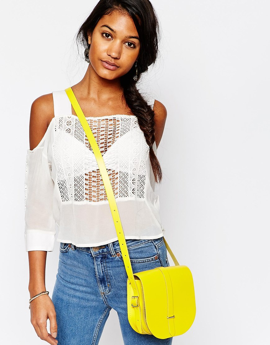 Cambridge satchel company The Leather Saddle Bag In Yellow in ...