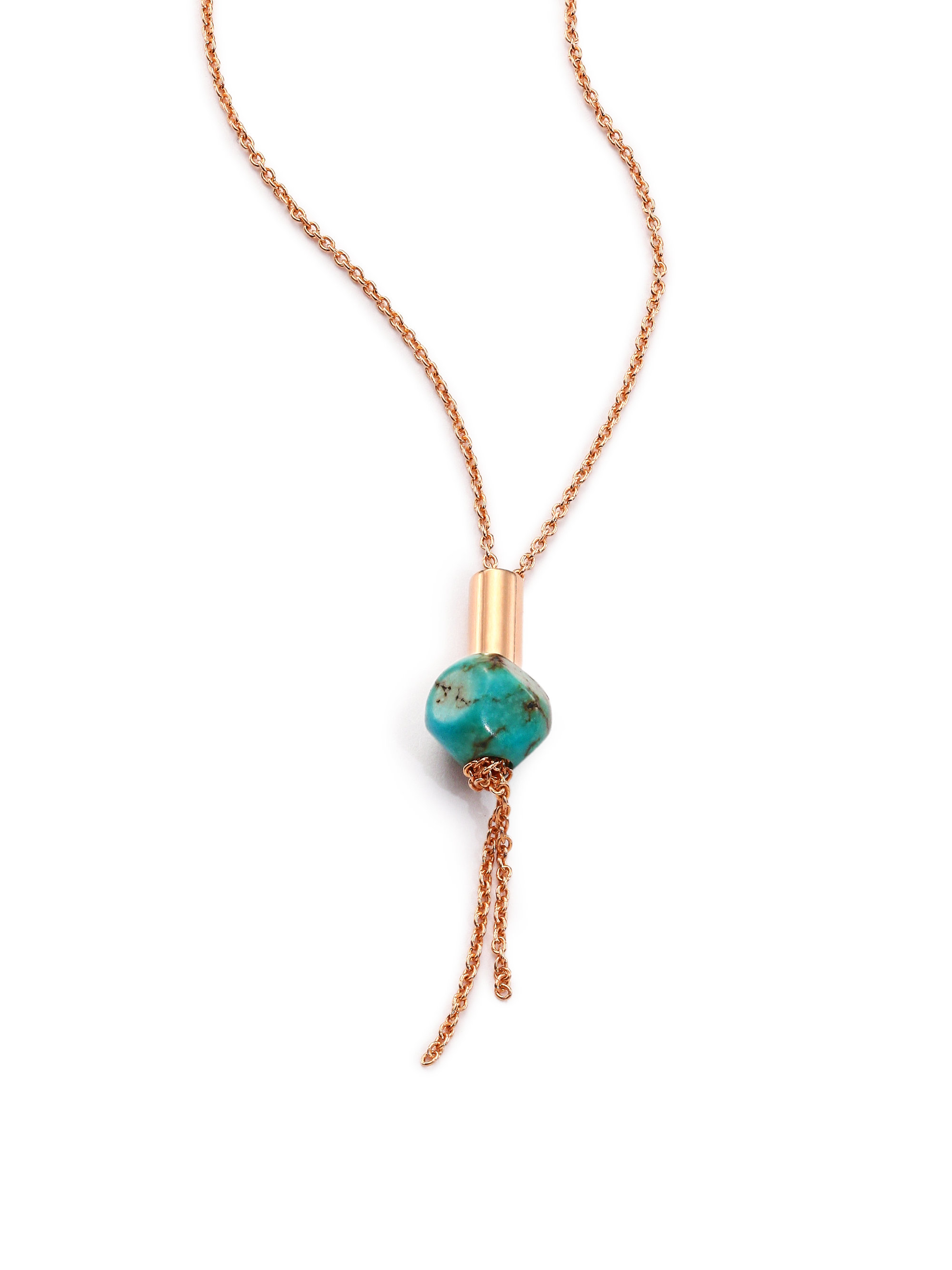Lyst Ginette Ny Fallen Sky Turquoise 18k Rose Gold Bead Necklace