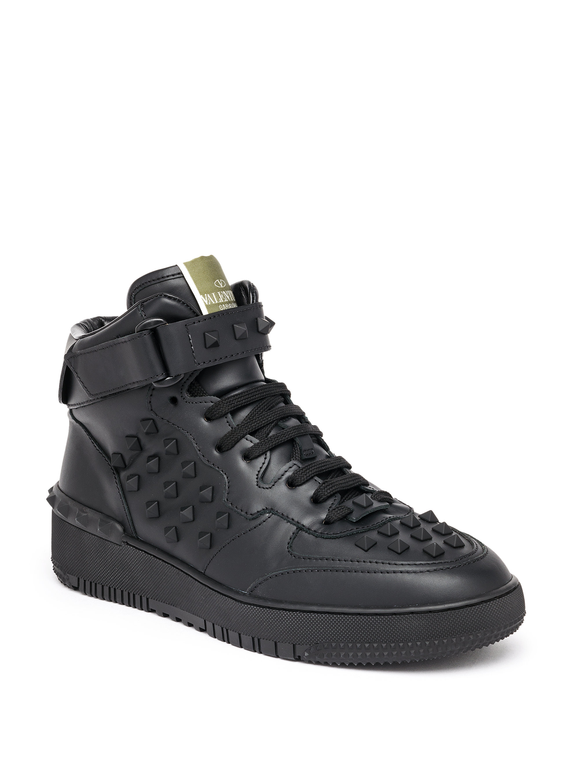 valentino rockstud leather high top sneakers in black for