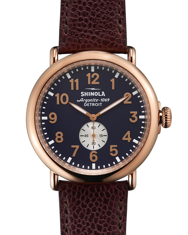 Shinola 47mm runwell leather watch in red dark red lyst for Shinola watches