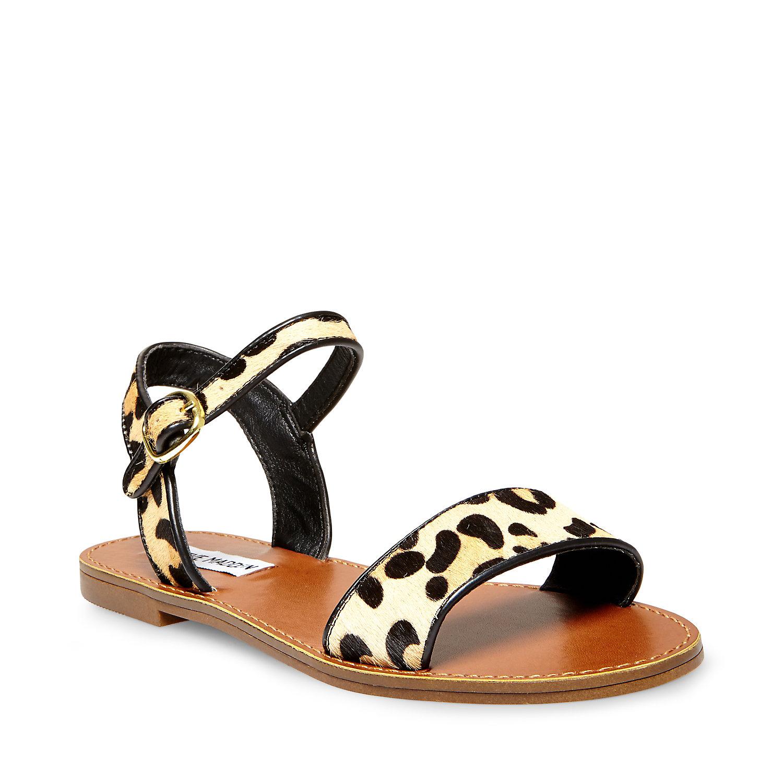 Steve Madden Ripple T Bar Sandals Black Women In Stock Bags Flats Leopard Outlet