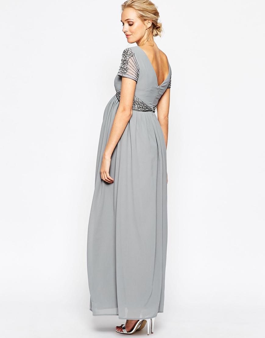 Maya maternity maxi dress with embellished waist in gray lyst gallery ombrellifo Gallery