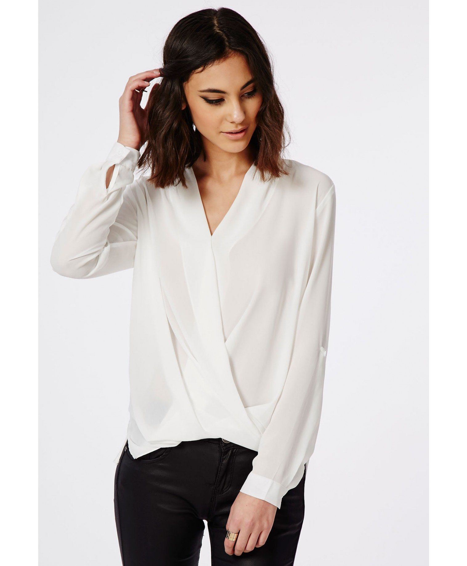 Wrap Front White Blouse | Fashion Ql