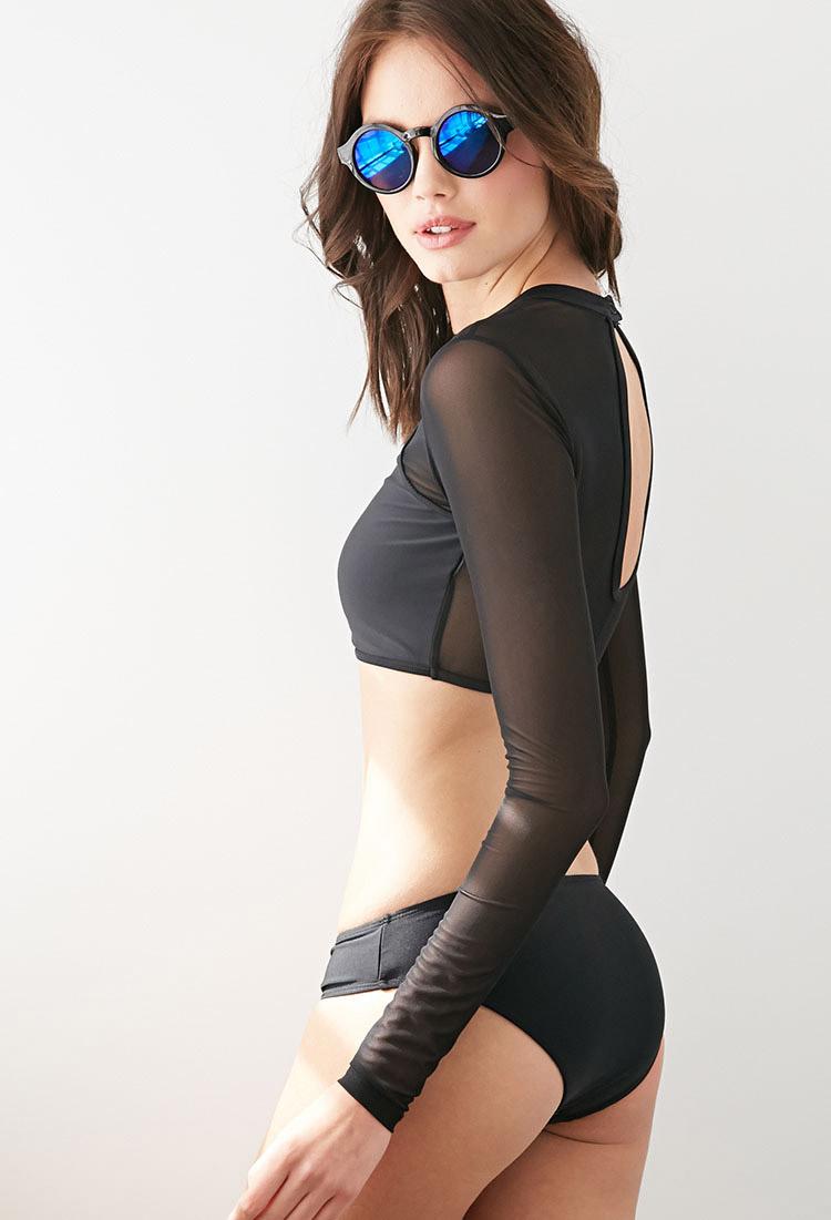 e28e453035 Lyst - Forever 21 Mesh Rashguard Swimsuit Top in Black