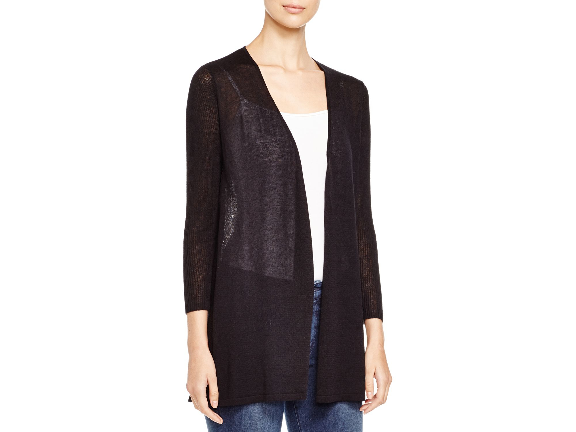 Avec Semi Sheer Ribbed Cardigan in Black | Lyst