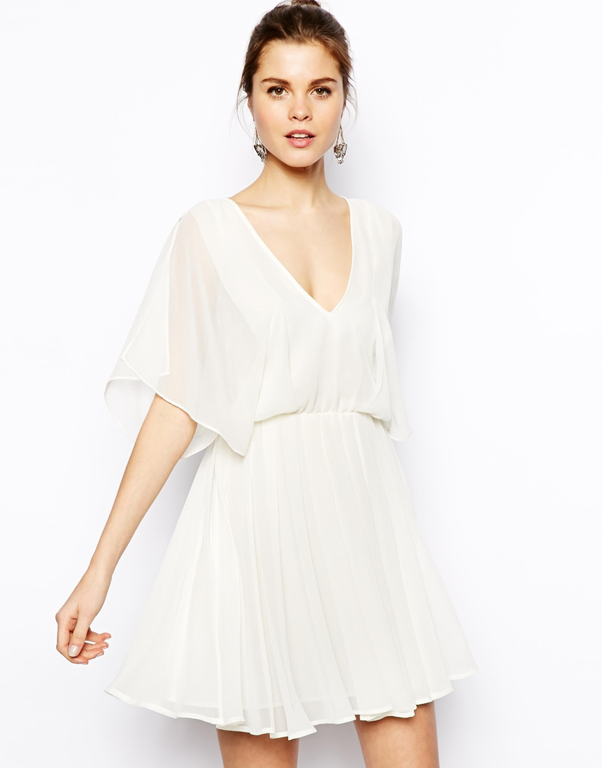 Asos angel sleeve skater dress in white lyst for Robes de mariage de betsey johnson