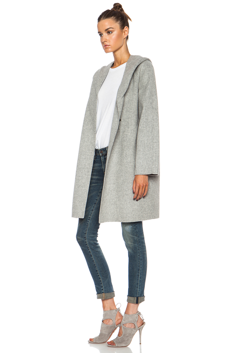 Vince Hooded Wool-blend Coat in Gray | Lyst