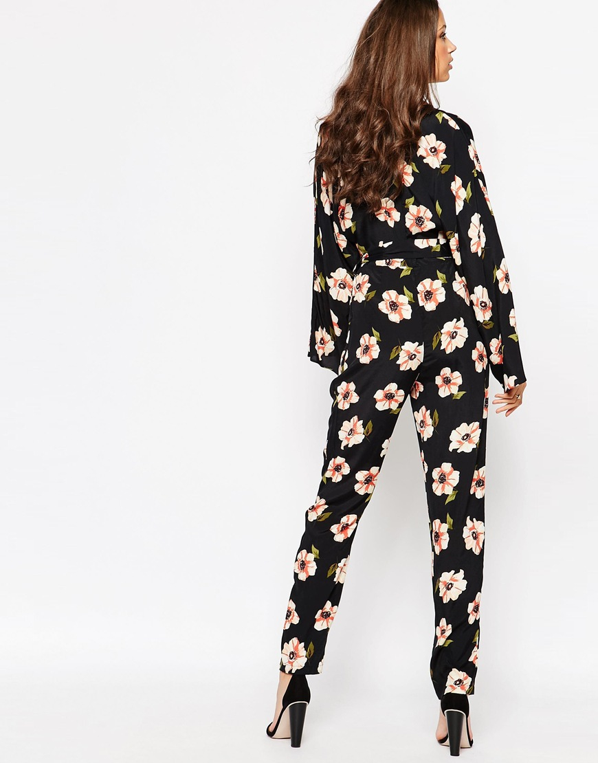 Lyst - ASOS Tall Kimono Sleeve Jumpsuit In Floral Print in ...