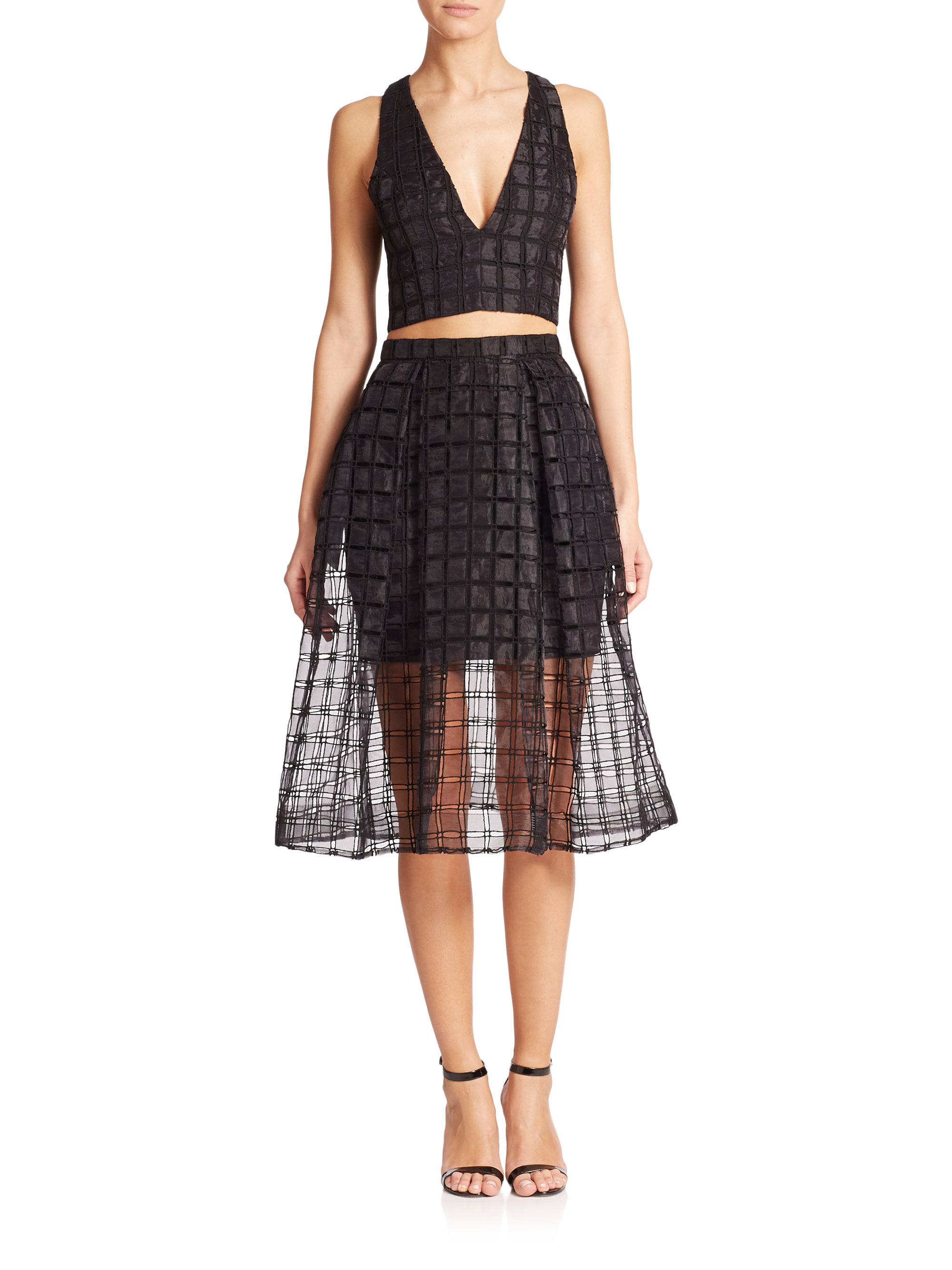nicholas window lace a line skirt in black save 21 lyst