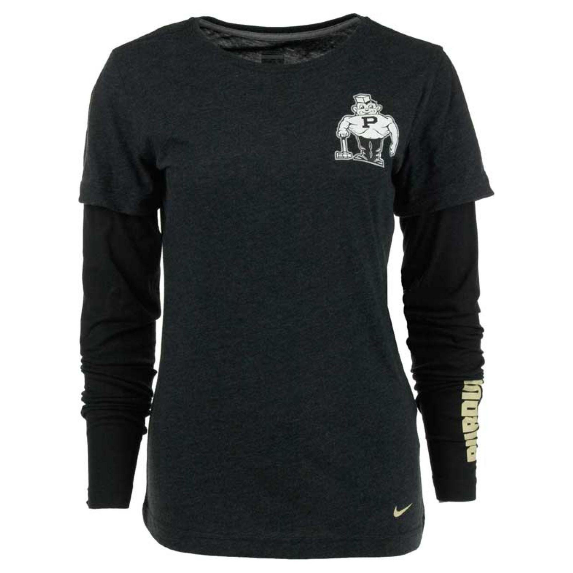 Nike Womens Longsleeve Purdue Boilermakers Layered Tshirt in Black ...