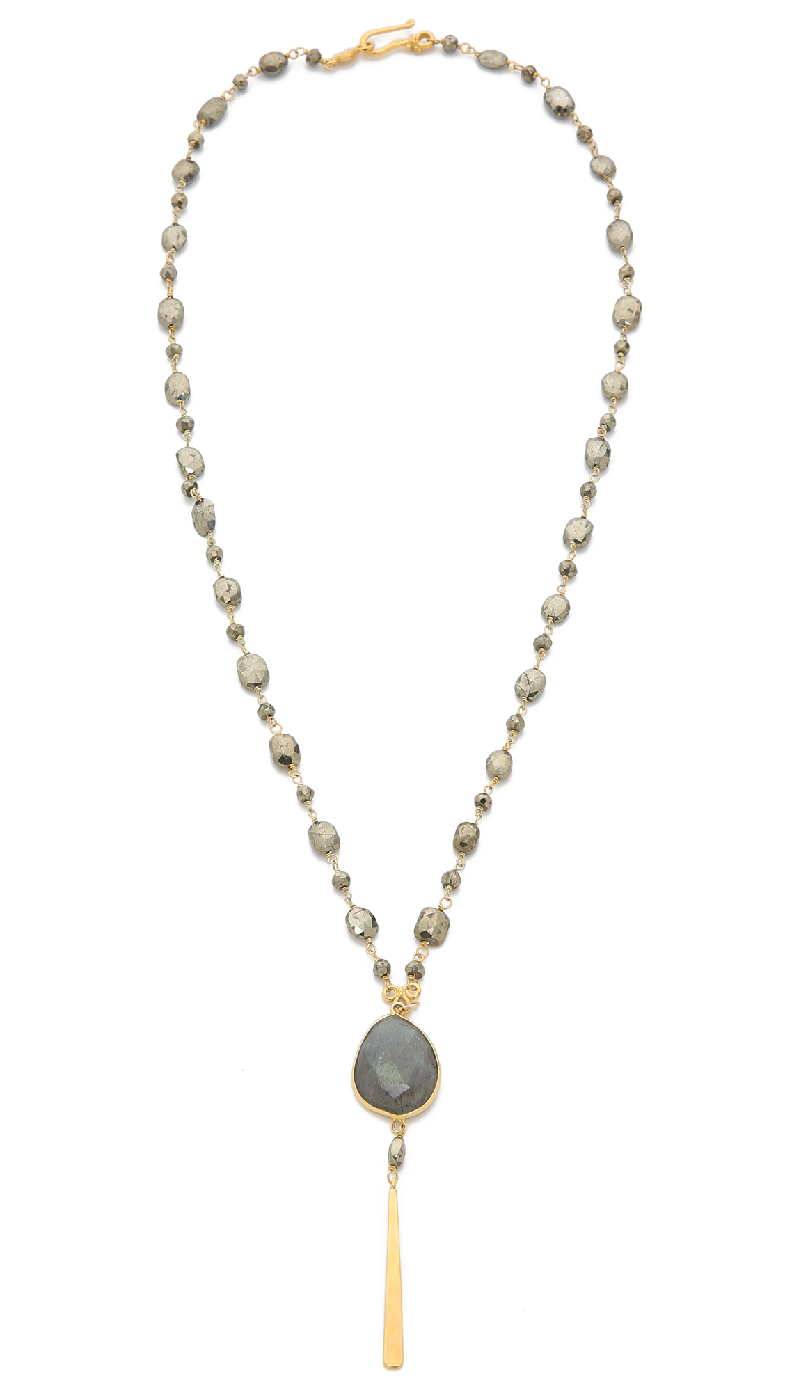 chan luu pendant beaded necklace pyrite in gray lyst