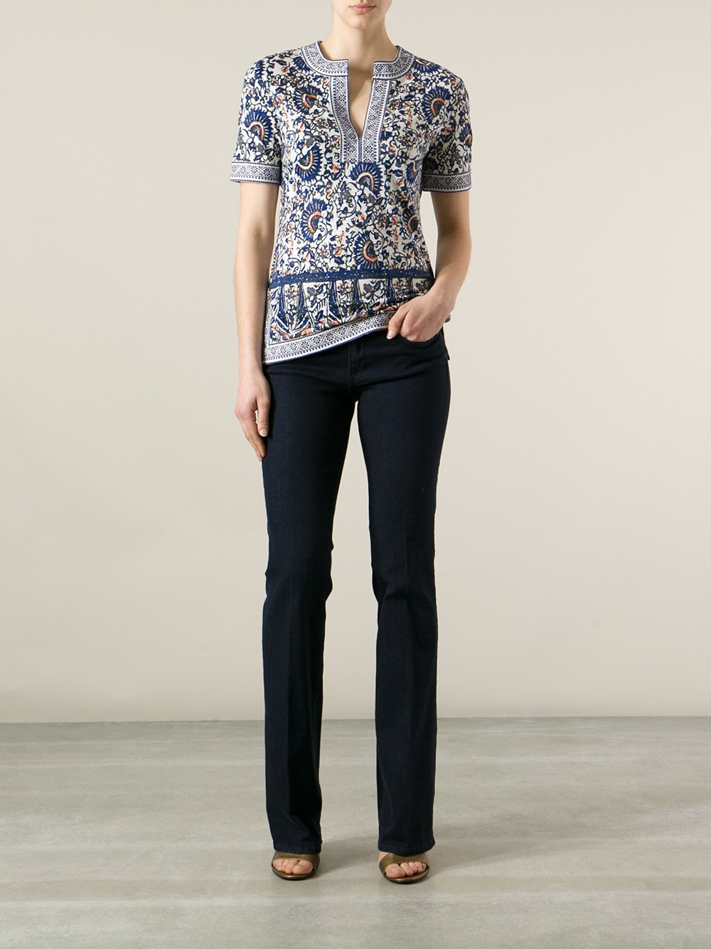 Lyst tory burch bootcut jean in blue for Tory burch fashion island
