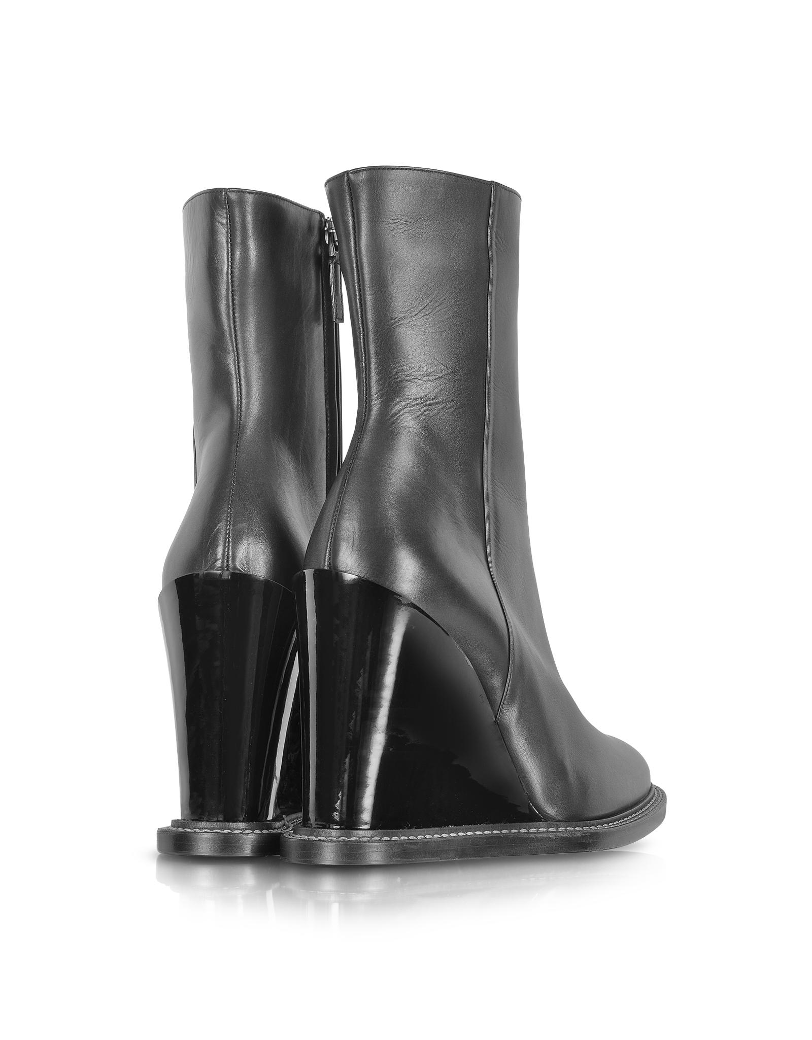 Jil sander Black Leather Wedge Ankle Boot in Black | Lyst