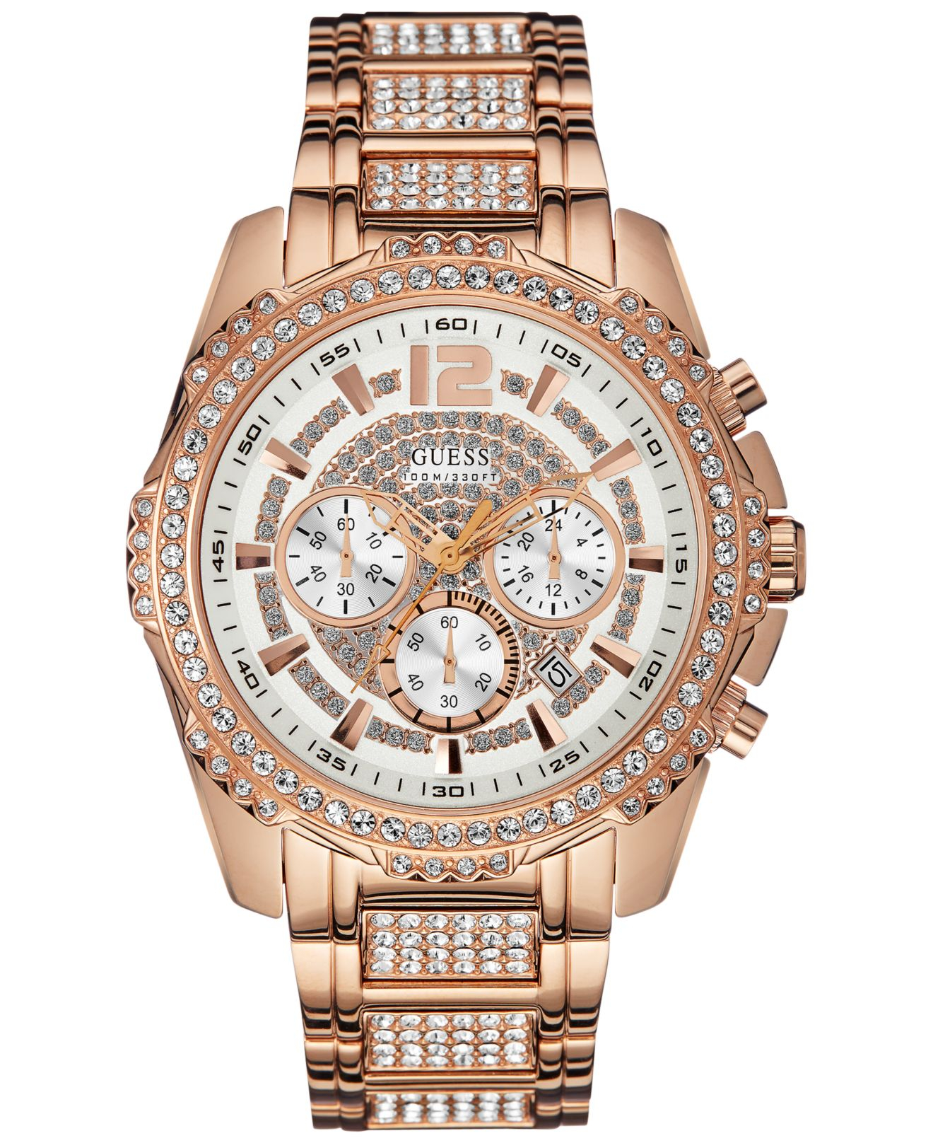 guess men s chronograph crystal accent rose gold tone bracelet gallery