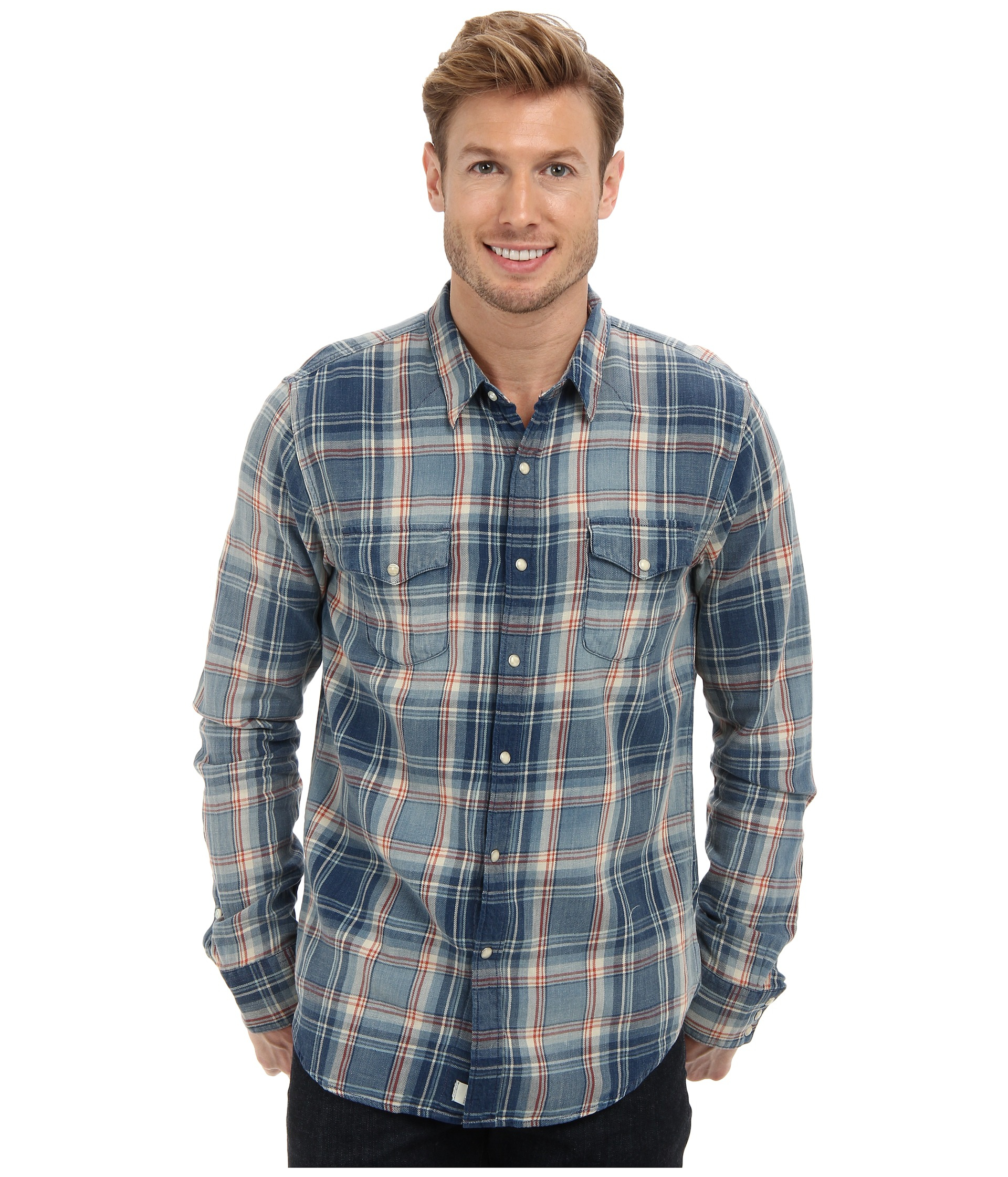 6e6f768125 Lyst - Lucky Brand Indigo Plaid Western Shirt in Blue for Men
