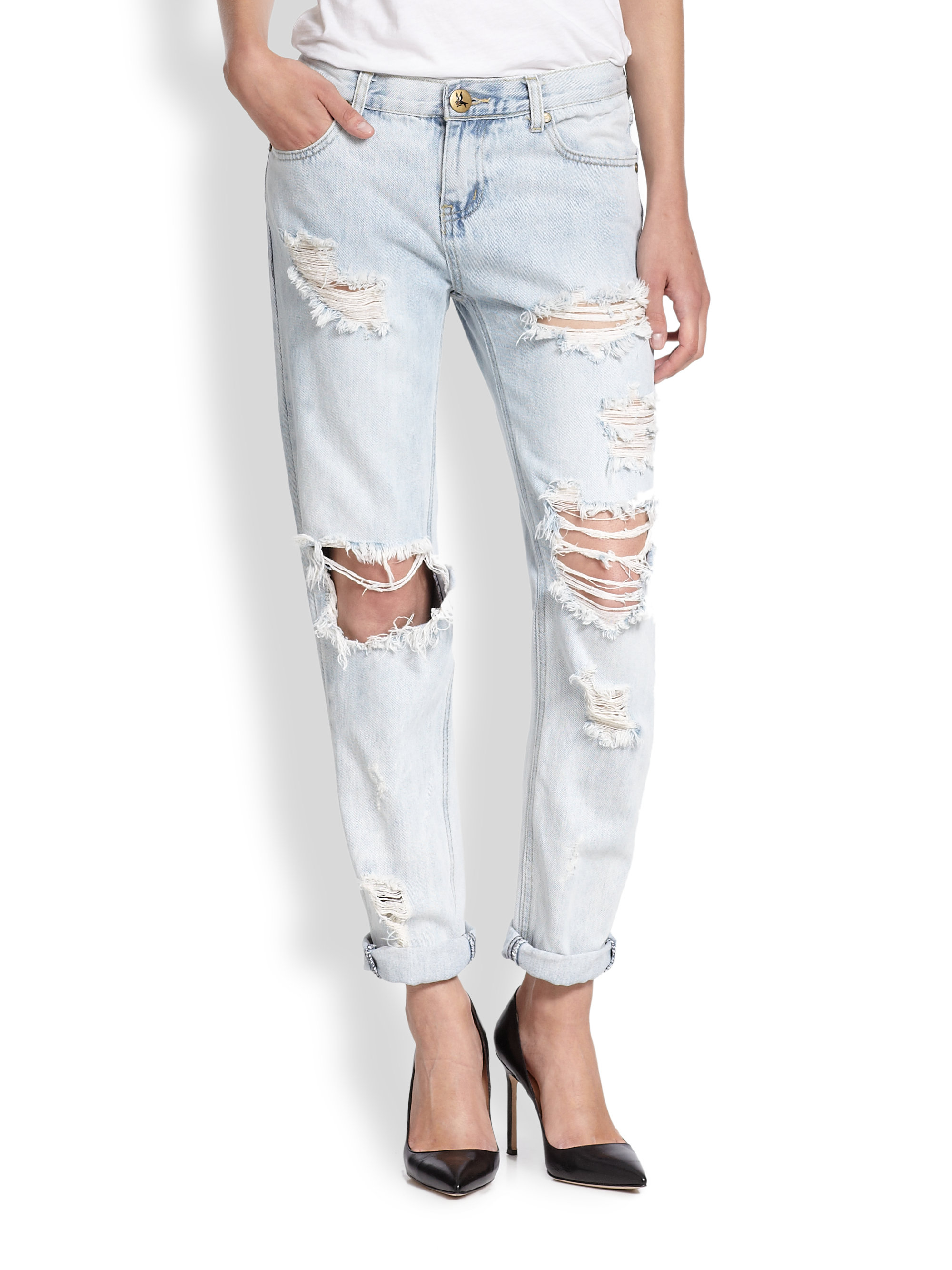 one teaspoon awesome baggies distressed skinny boyfriend jeans in blue lyst. Black Bedroom Furniture Sets. Home Design Ideas