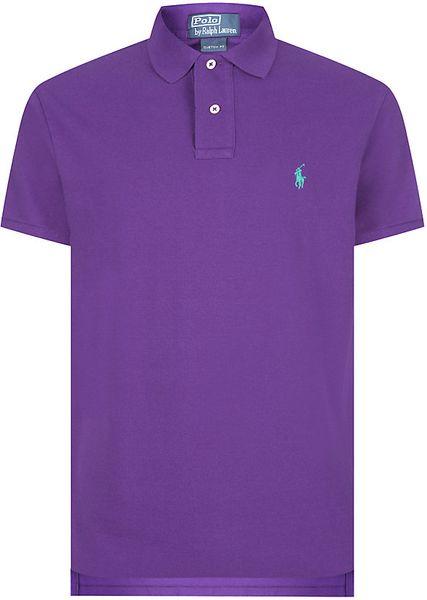 Polo Ralph Lauren Custom Fit Logo Polo Shirt In Purple For