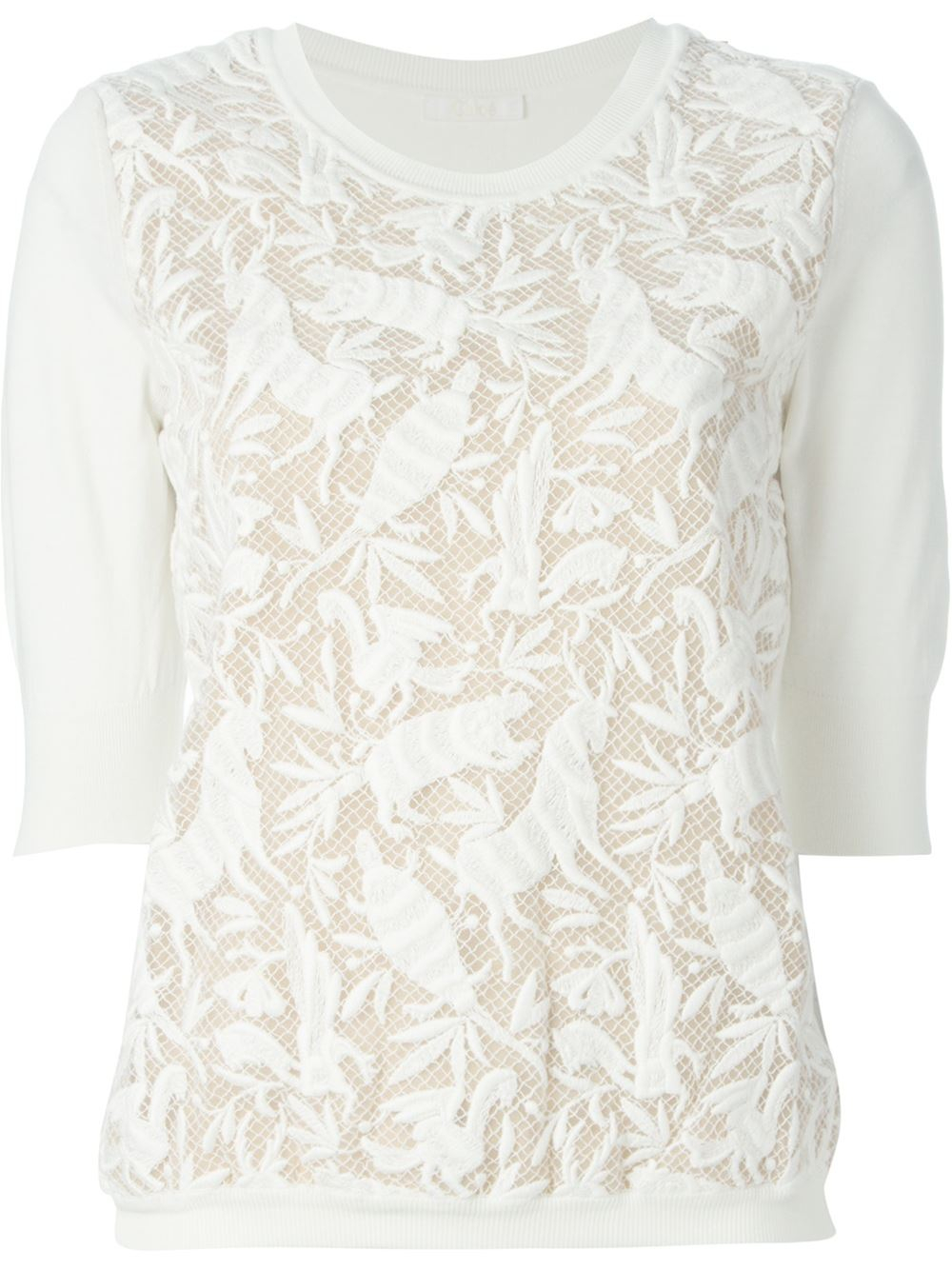 Chloé Lace Sweater in White | Lyst