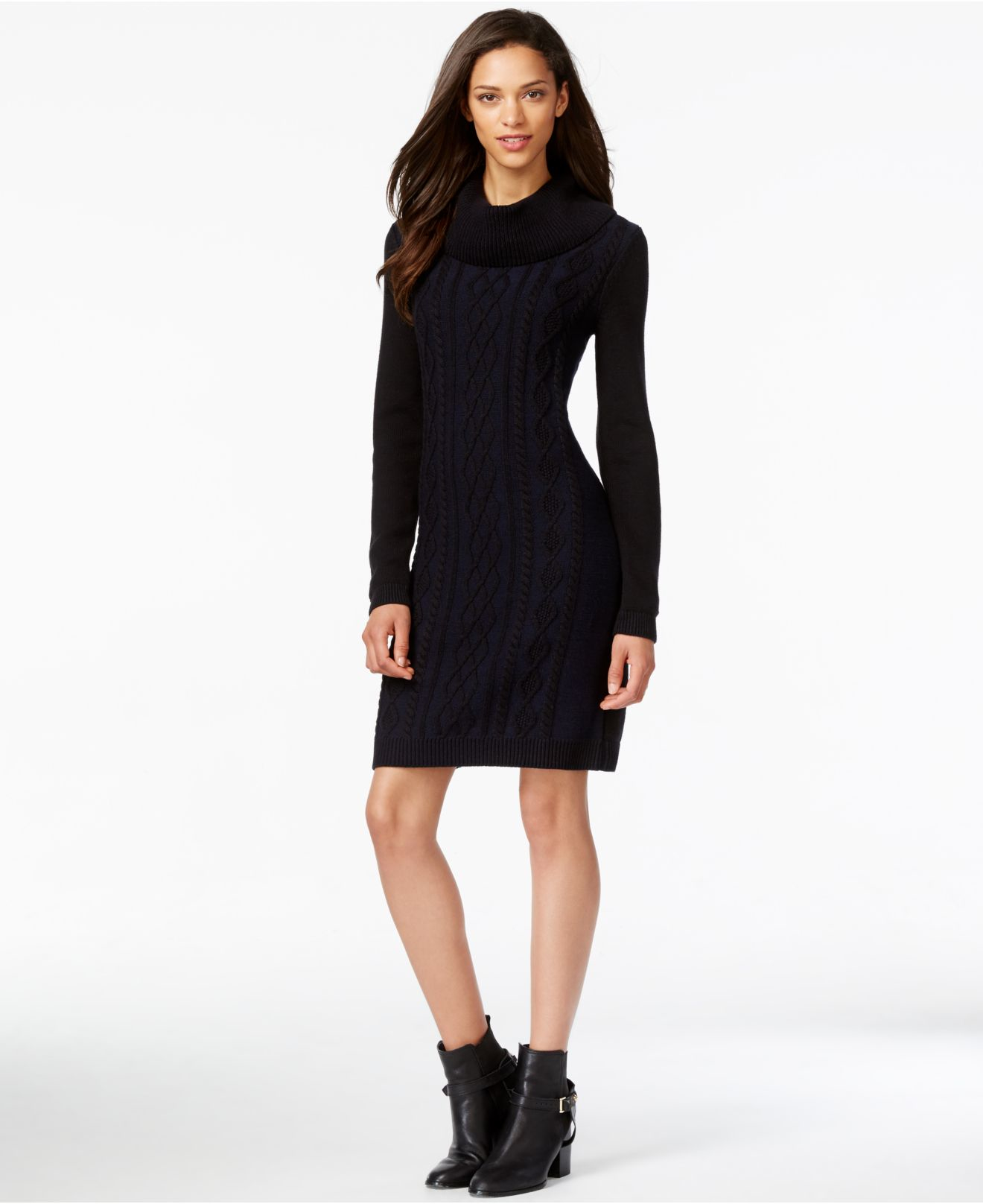 Tommy hilfiger Cowl-neck Cable-knit Sweater Dress in Black | Lyst