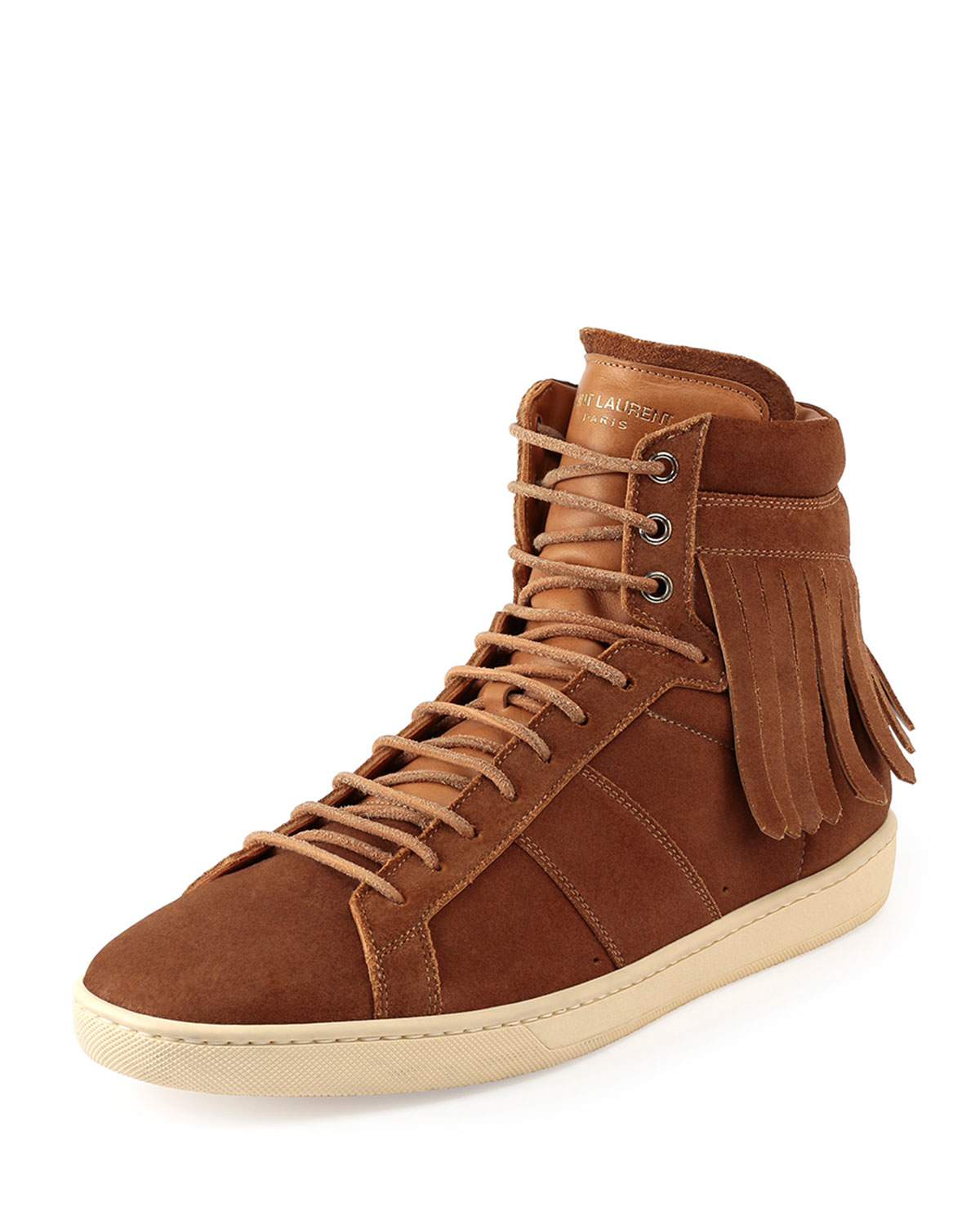 Saint Laurent Fringed High-Top Sneakers In Brown