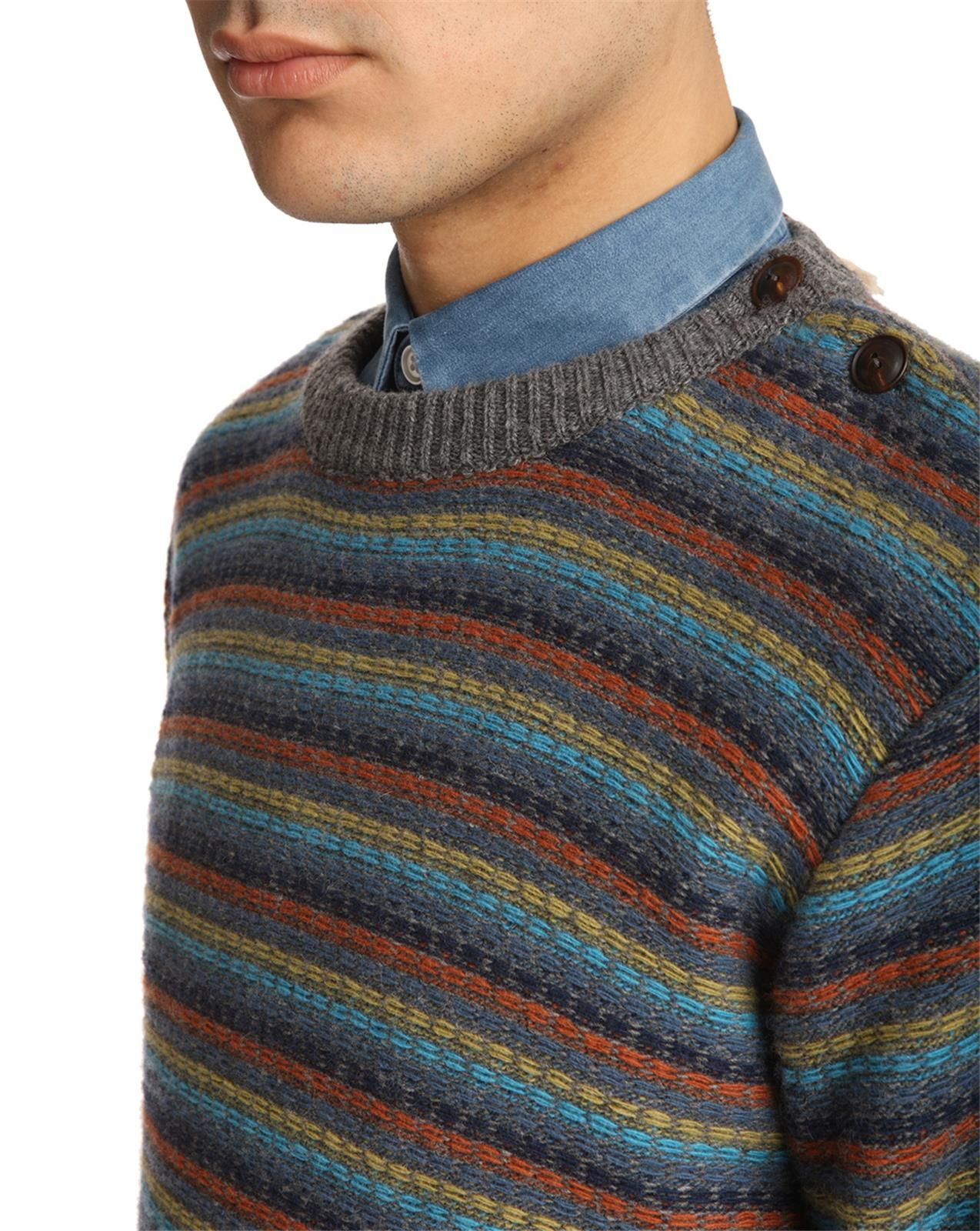 knowledge cotton apparel reversible grey striped knit sweater in multicolor for men grey lyst. Black Bedroom Furniture Sets. Home Design Ideas