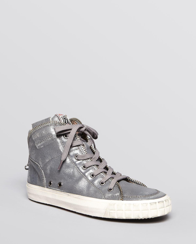 ash high top sneakers shake ter zipper in gray black gun lyst. Black Bedroom Furniture Sets. Home Design Ideas