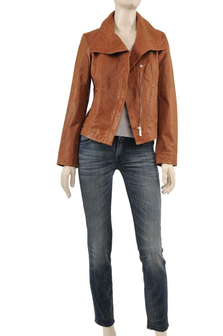 Michael kors brown leather jacket