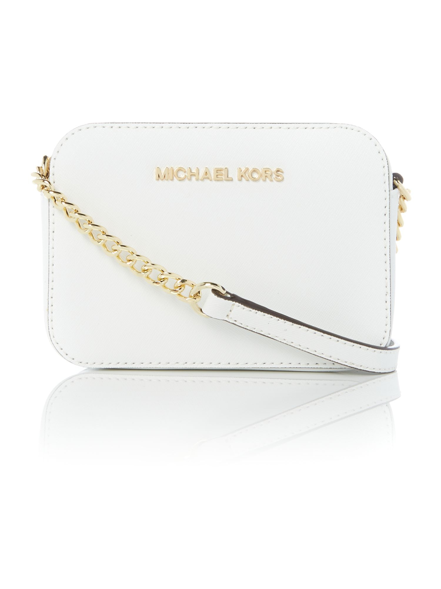 Michael kors Jetset Travel White Small Cross Body Bag in White | Lyst