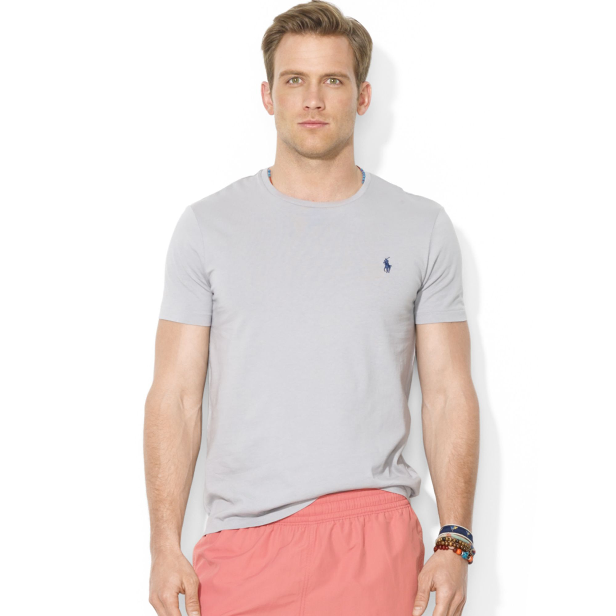 polo ralph lauren polo customfit cotton jersey crewneck tshirt in gray for men channel grey lyst. Black Bedroom Furniture Sets. Home Design Ideas