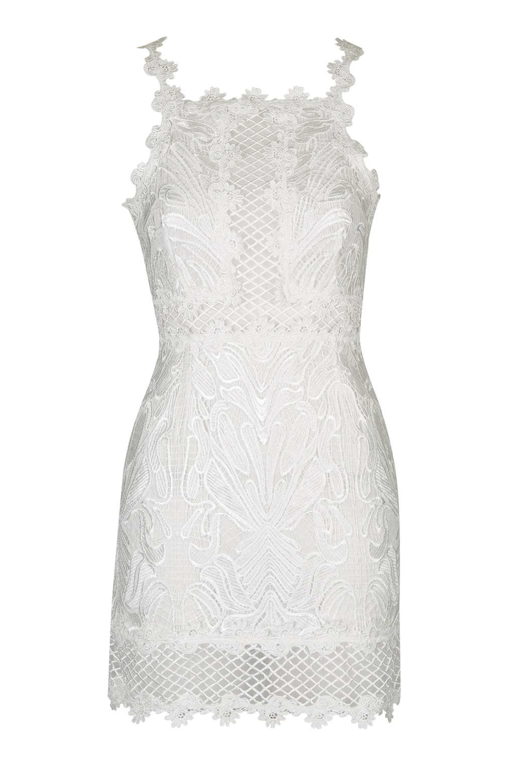 b2b97cdd46dc TOPSHOP Petite Lace Detailed Bodycon Dress in White - Lyst