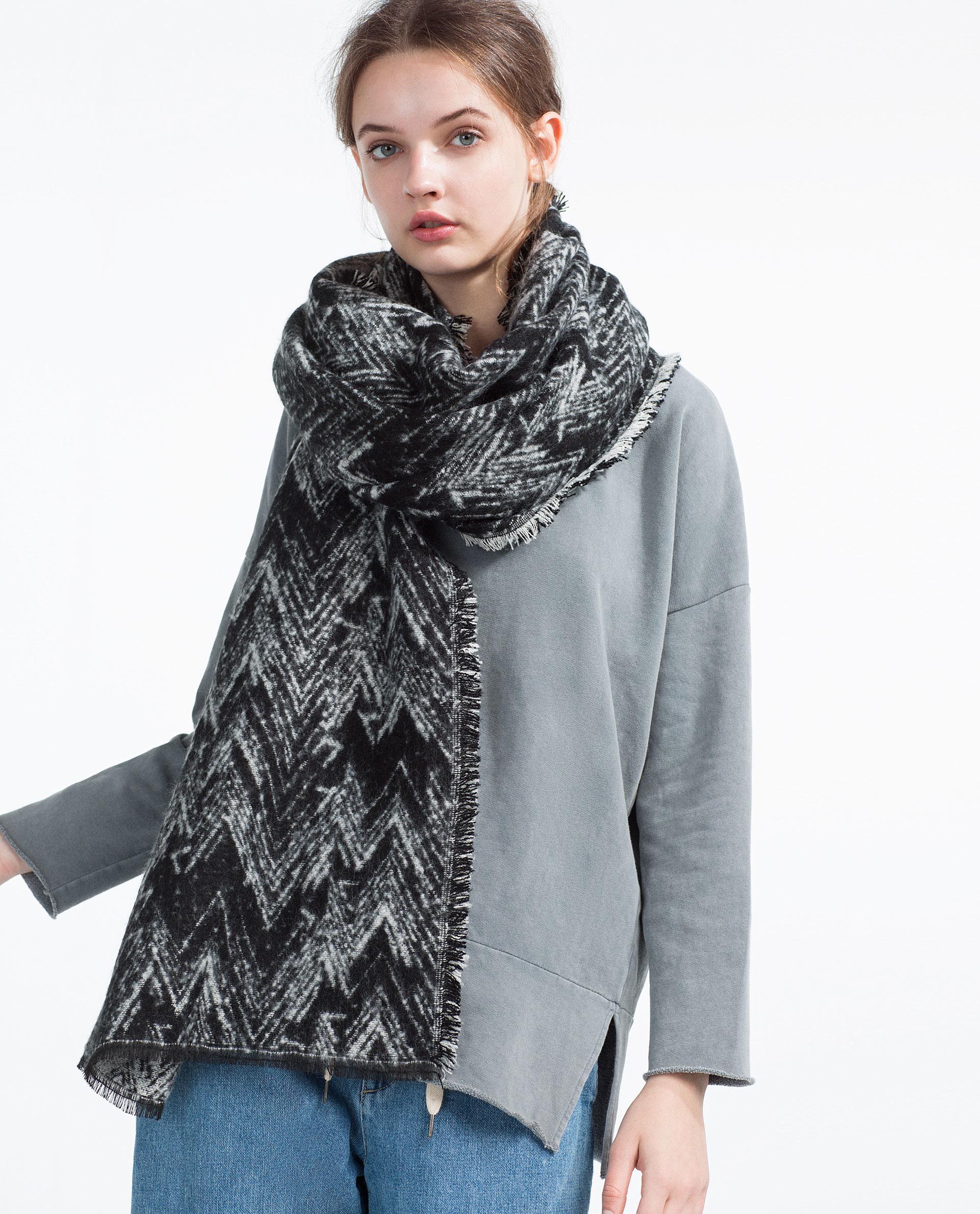 zara herringbone scarf in black lyst