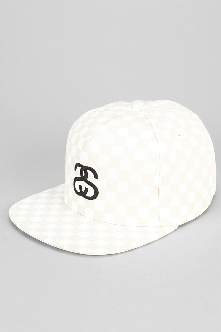 Lyst - Urban Outfitters Stussy Checkerboard Snapback Hat in White ... 357a1fbbeab6