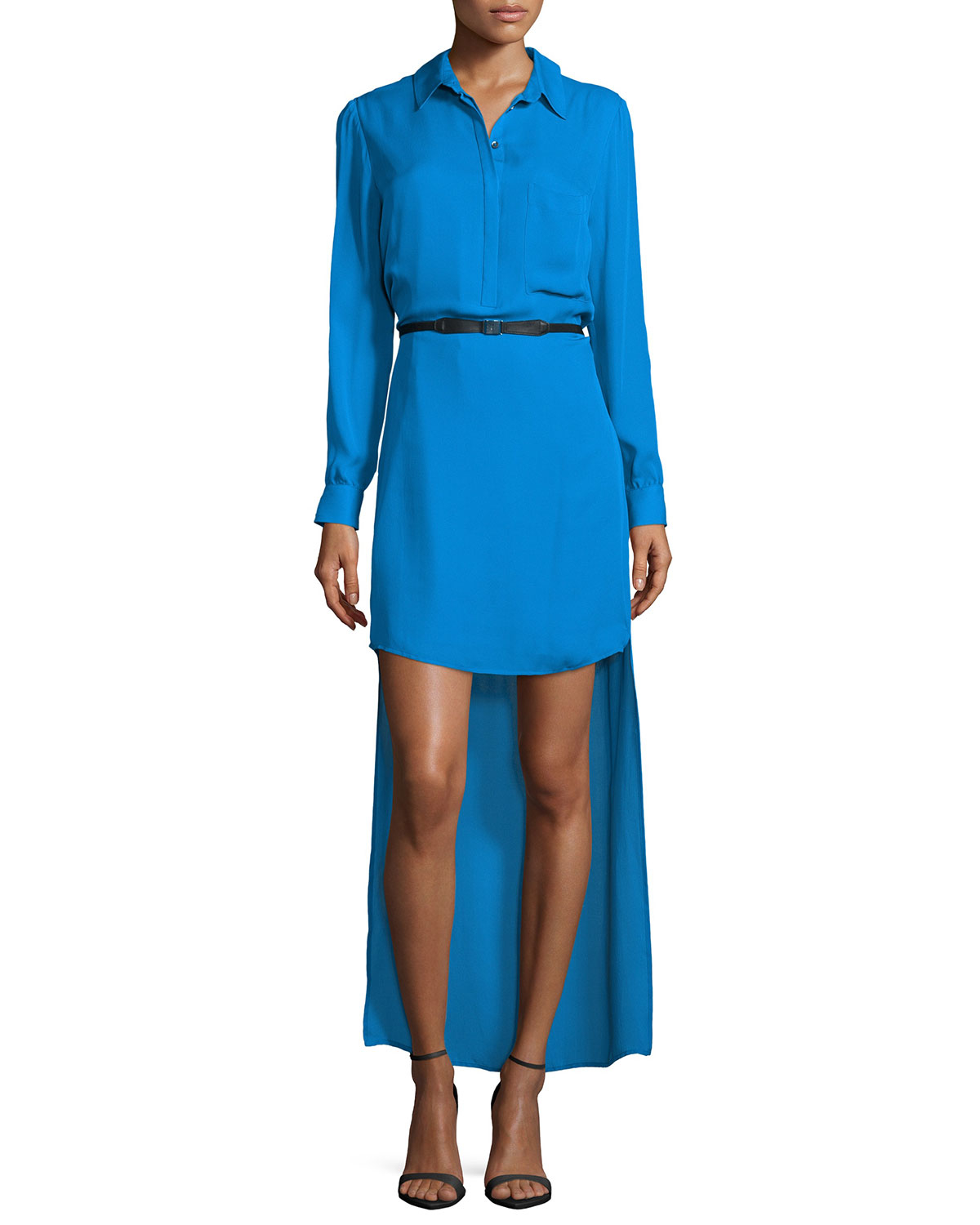 Haute hippie long sleeve belted high low dress in blue for To have and to haute dress