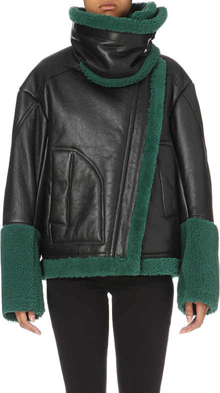 Kenzo Leather And Shearling Jacket in Black | Lyst