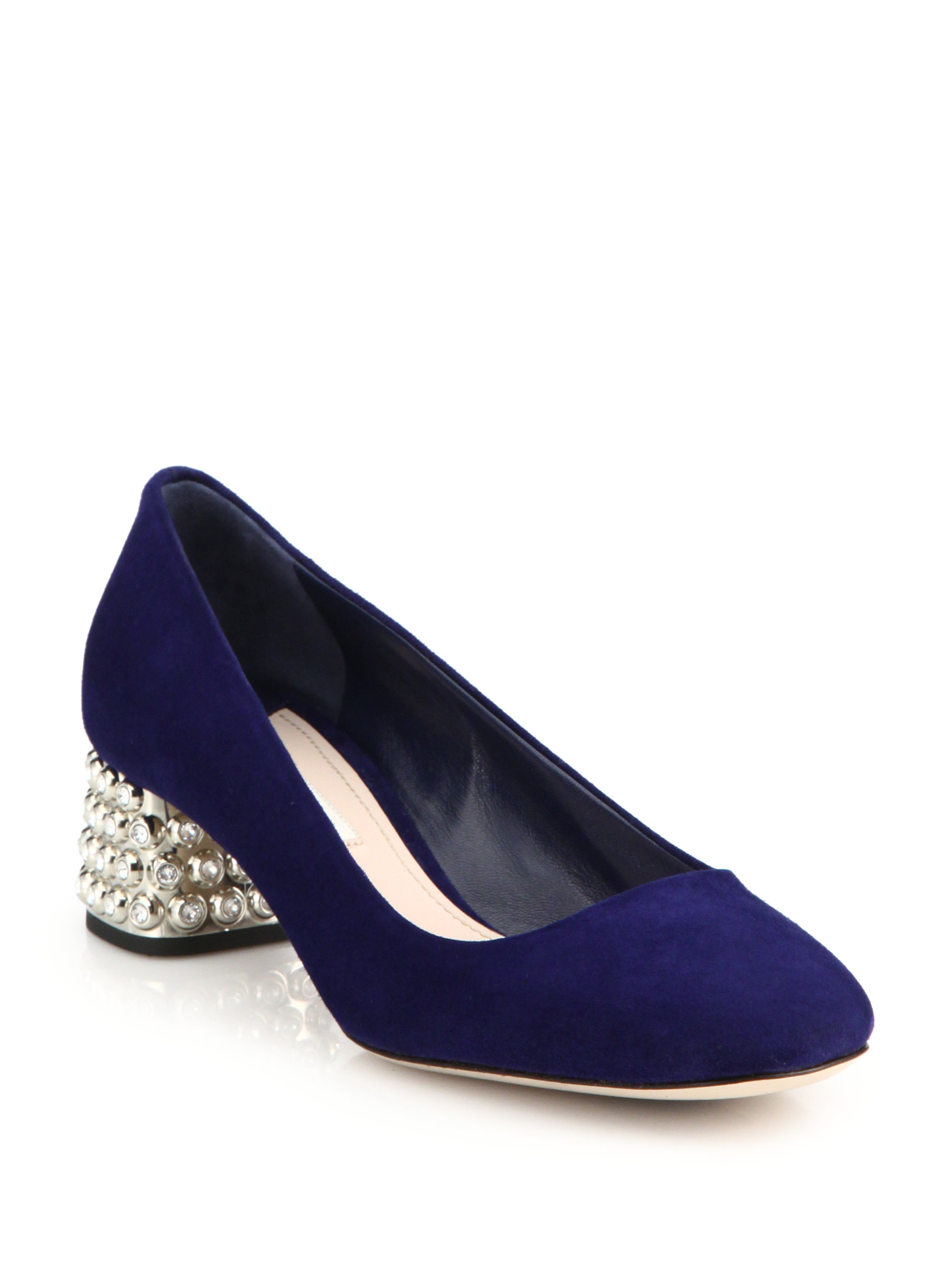 Lyst Miu Miu Crystal Amp Metal Heeled Suede Pumps In Blue