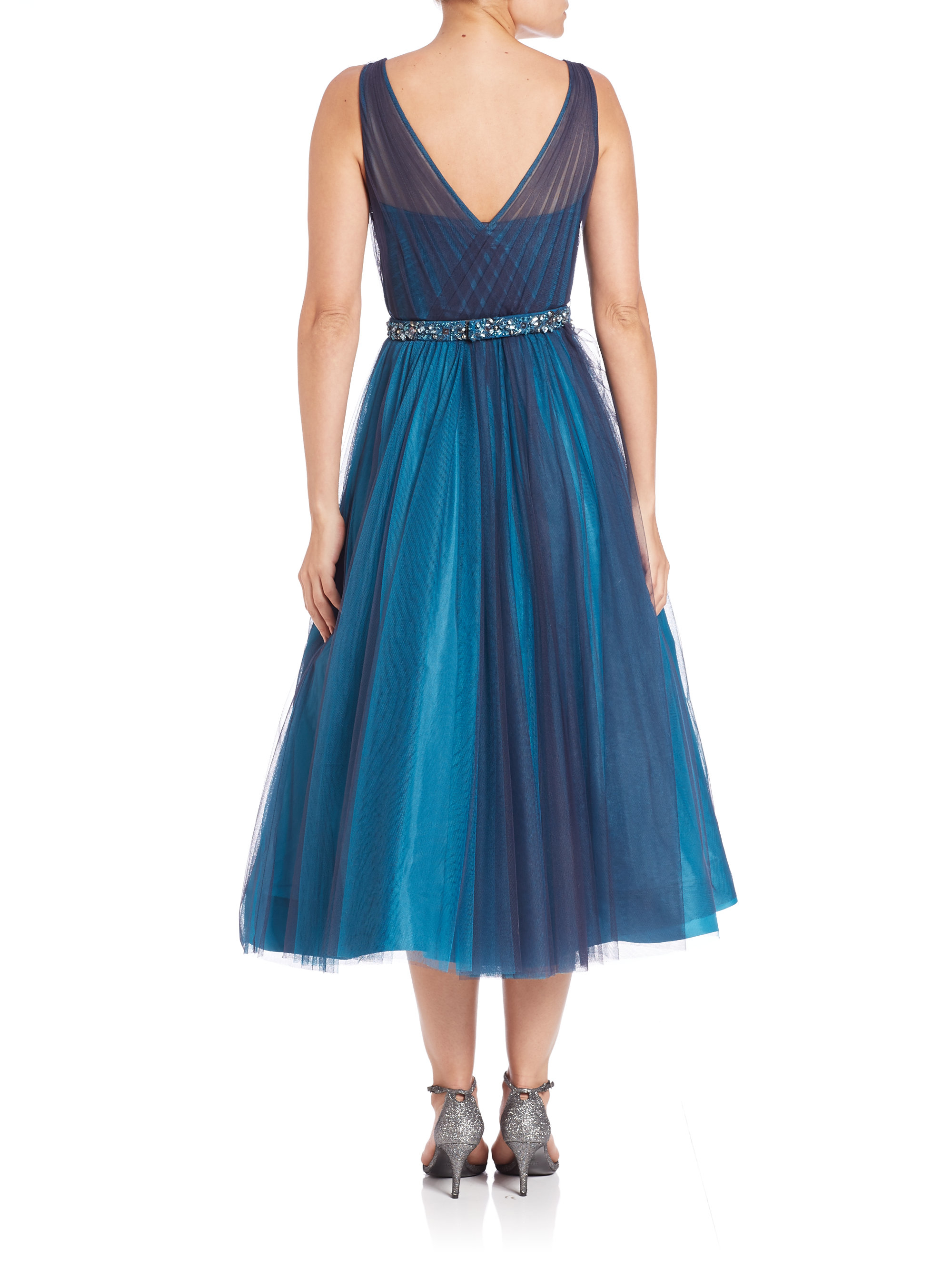 Lyst - Ml Monique Lhuillier Tulle Illusion Dress in Blue