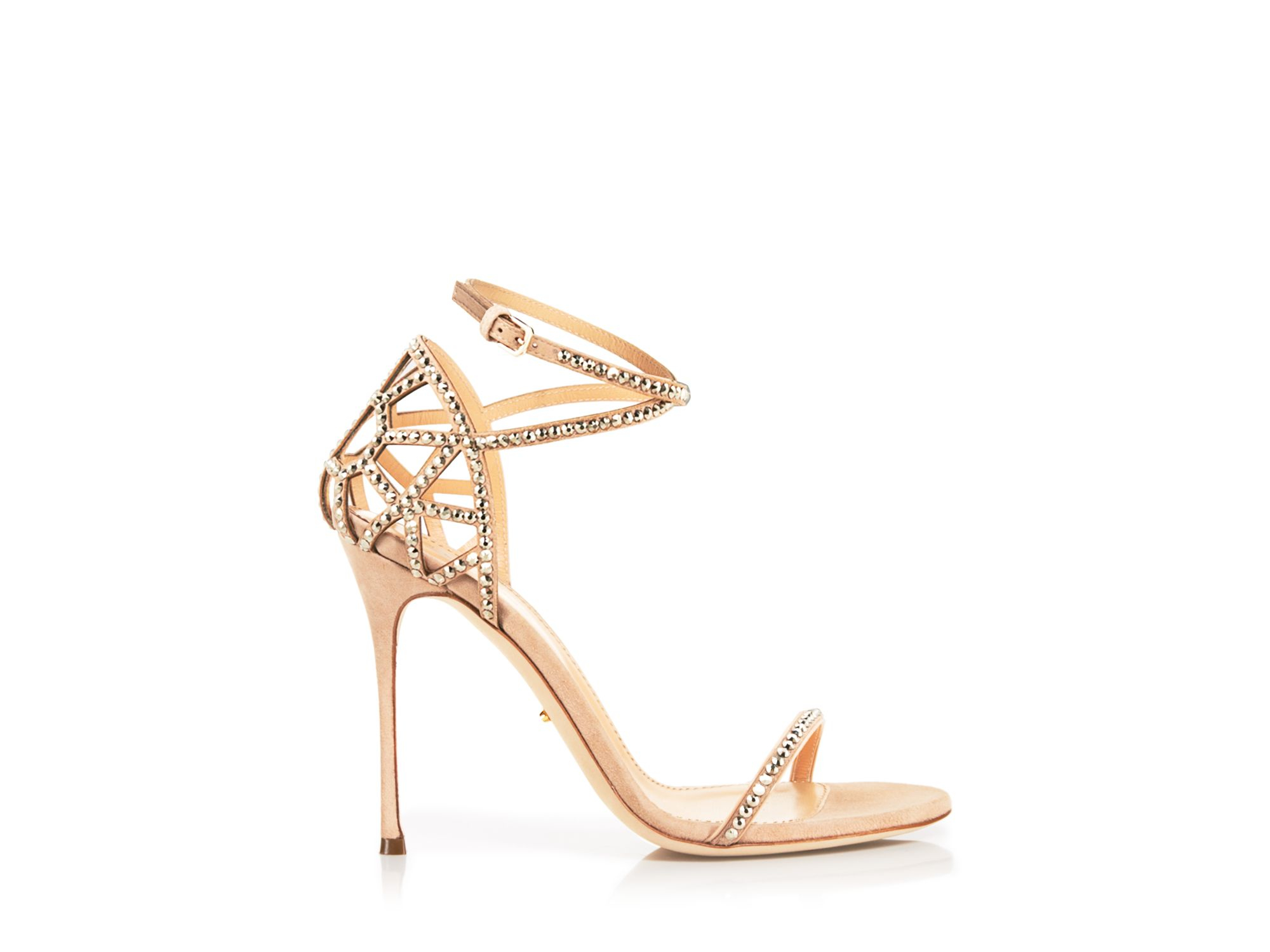 5b6c78ae7d49 Sergio Rossi Strappy Sandals - Puzzle High Heel in Natural - Lyst