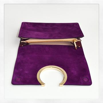 fake chloe bags - Chlo�� Gabrielle Dark Velvet Clutch in Purple (plum) | Lyst