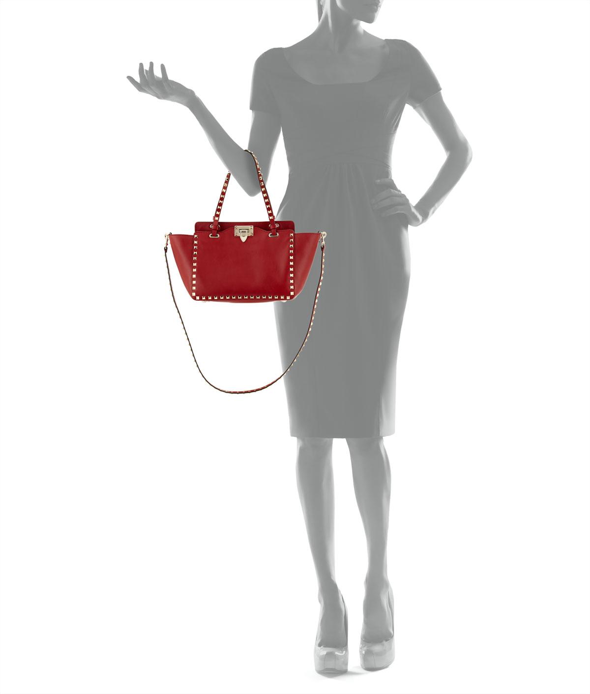 Lyst - Valentino Rockstud Mini Tote Bag in Red 70e3fe13dc955