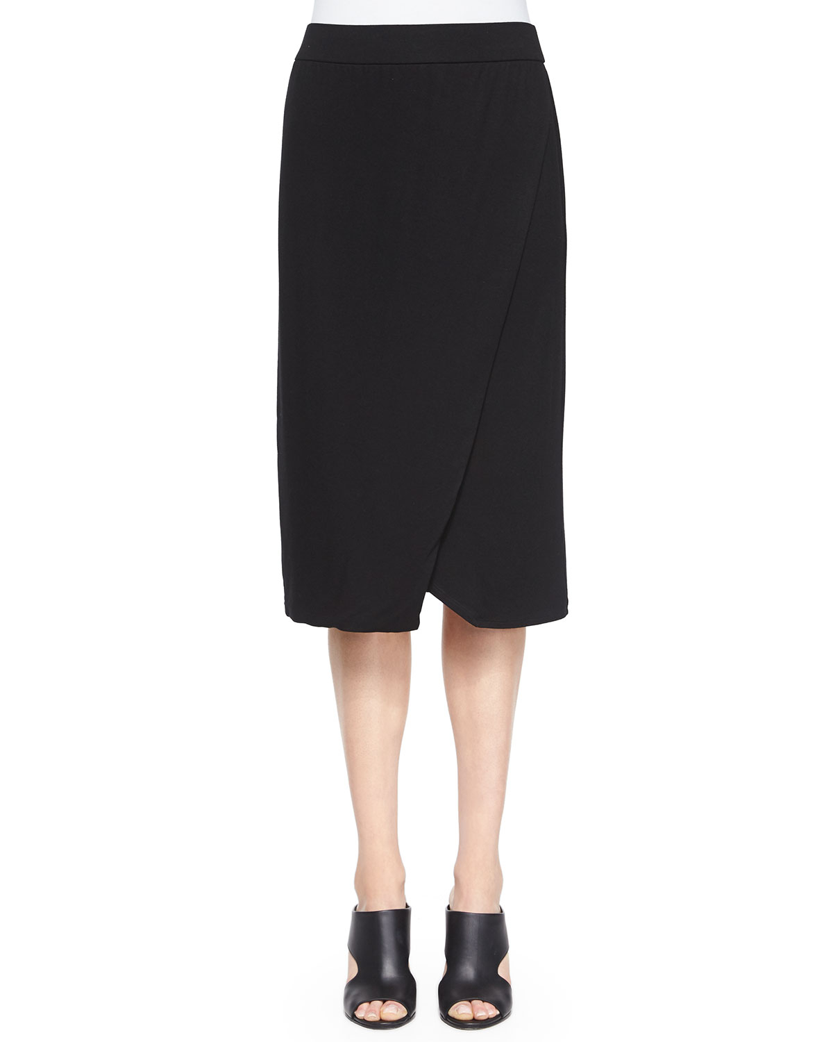 eileen fisher faux wrap pencil skirt in black lyst