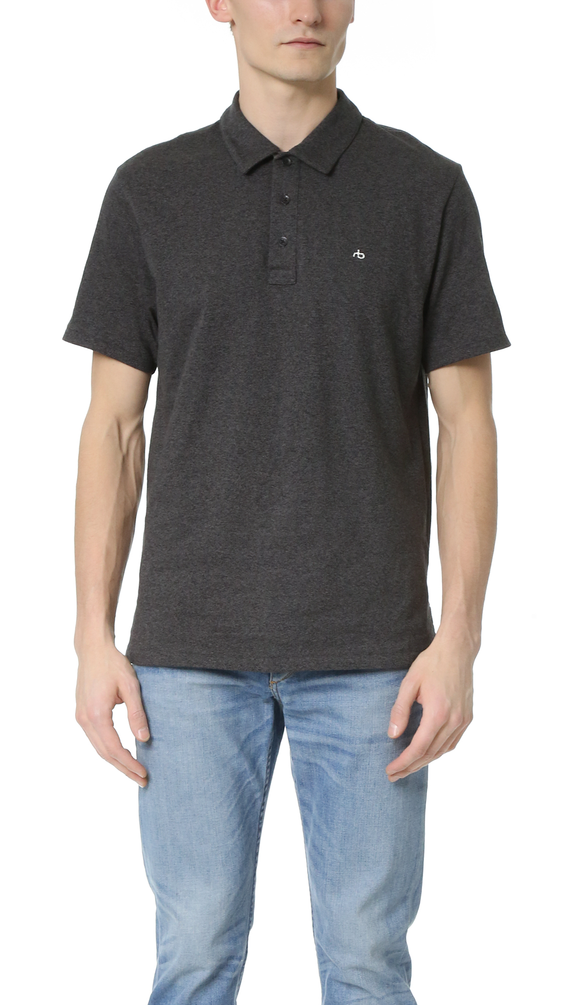 Rag bone standard issue polo in grey for men lyst for Rag and bone mens shirts sale