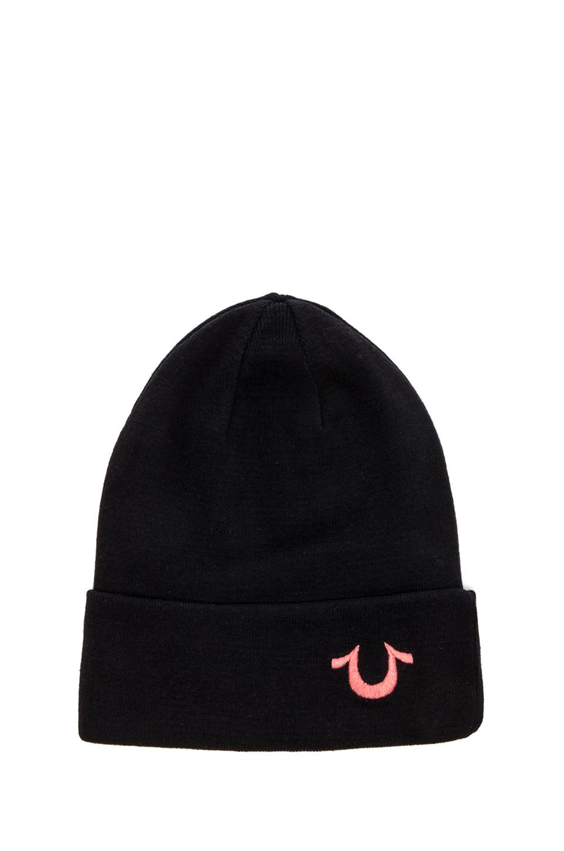 a5d36de3421 Lyst - True Religion Knit Cotton Watchcap in Black