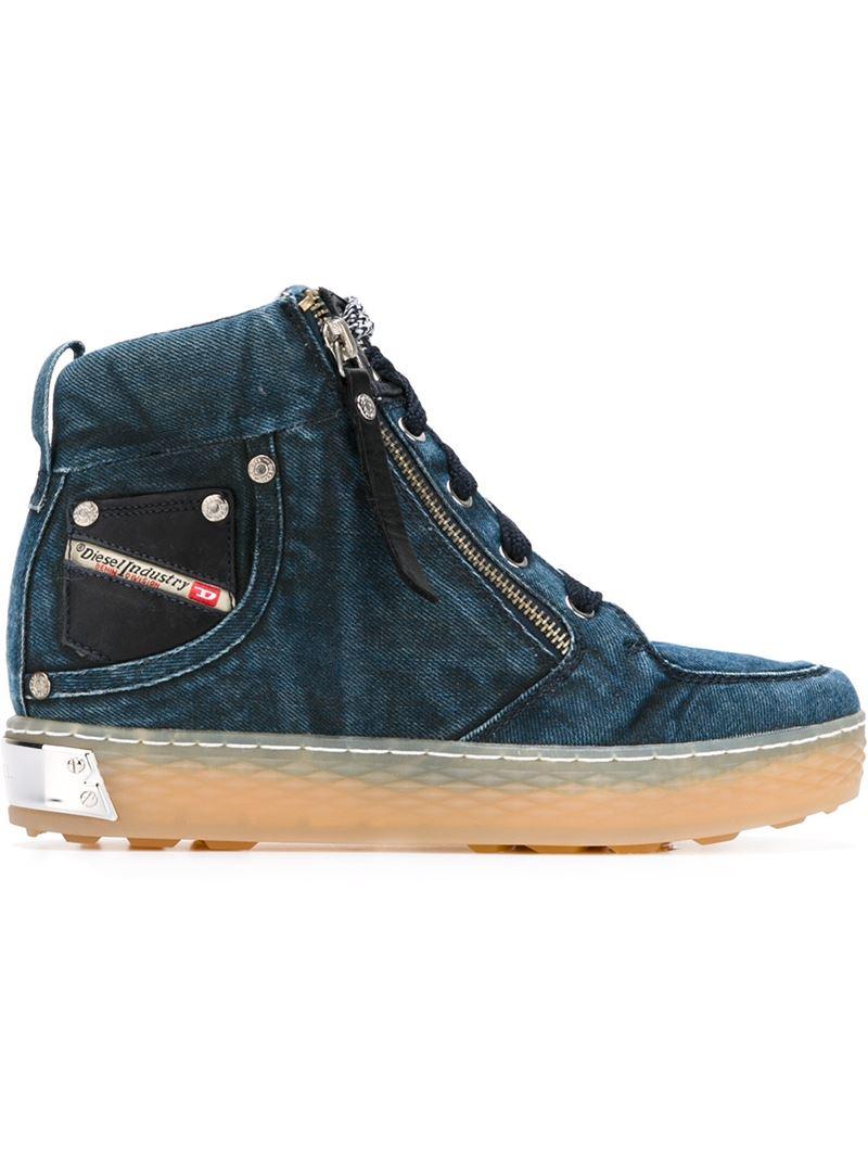 Diesel Black Blue Shoes High Top