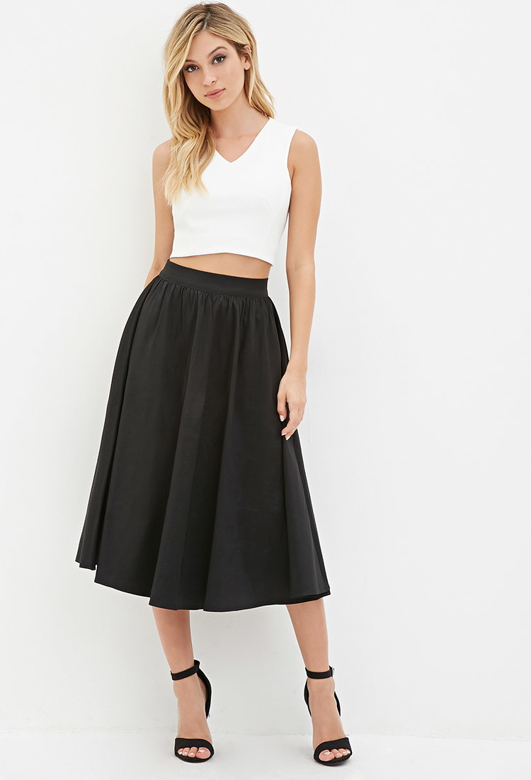 488185bb31 Forever 21 A-line Midi Skirt in Black - Lyst