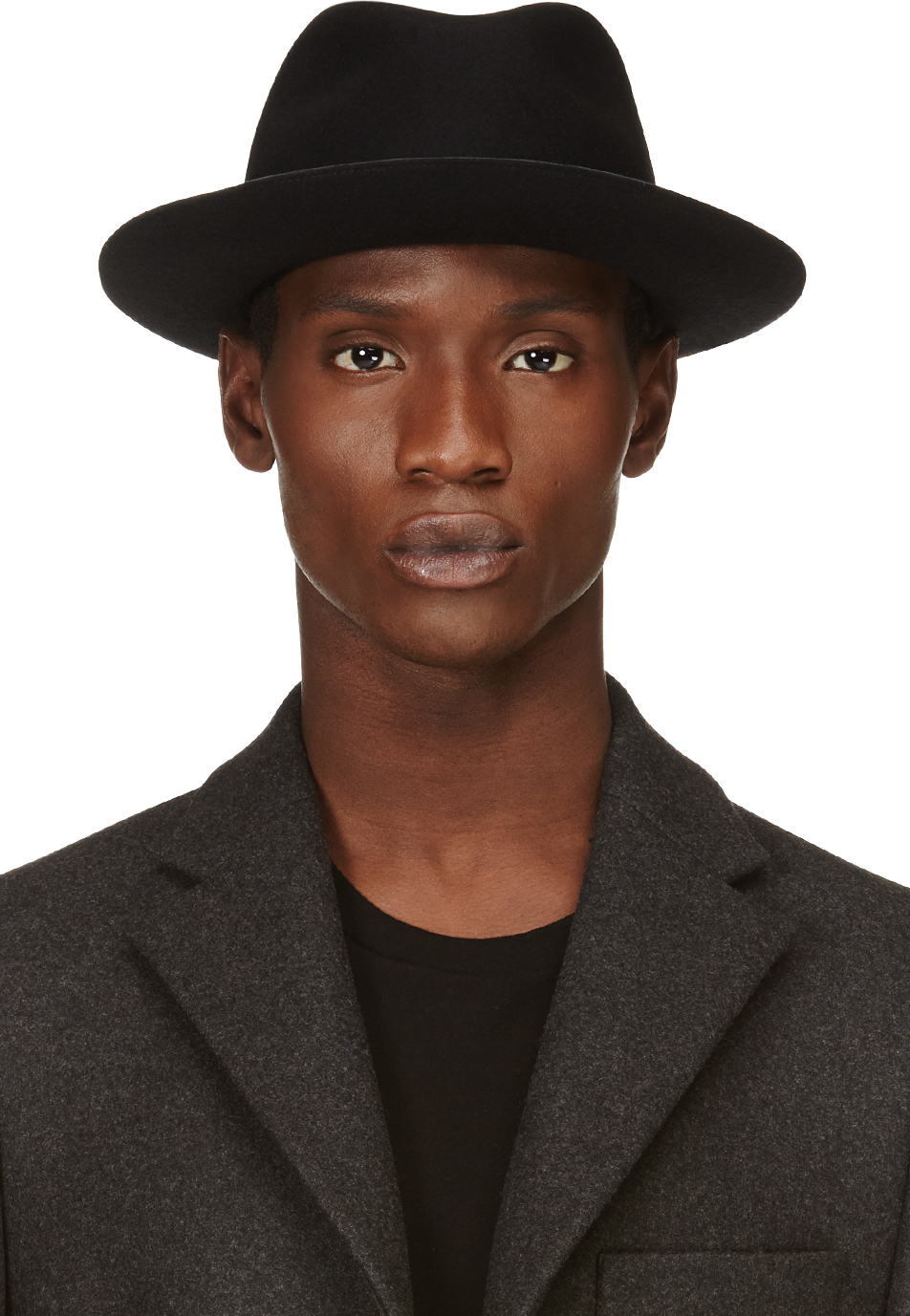 Lyst Costume National Black Rabbit Hair Fedora With Faux