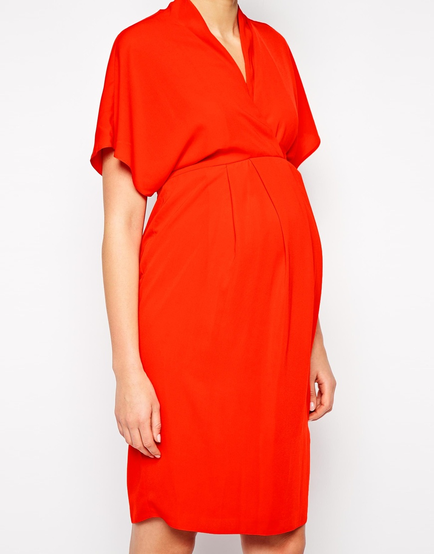 Asos maternity work wear dress with kimono sleeve in red lyst gallery womens kimono dresses ombrellifo Images