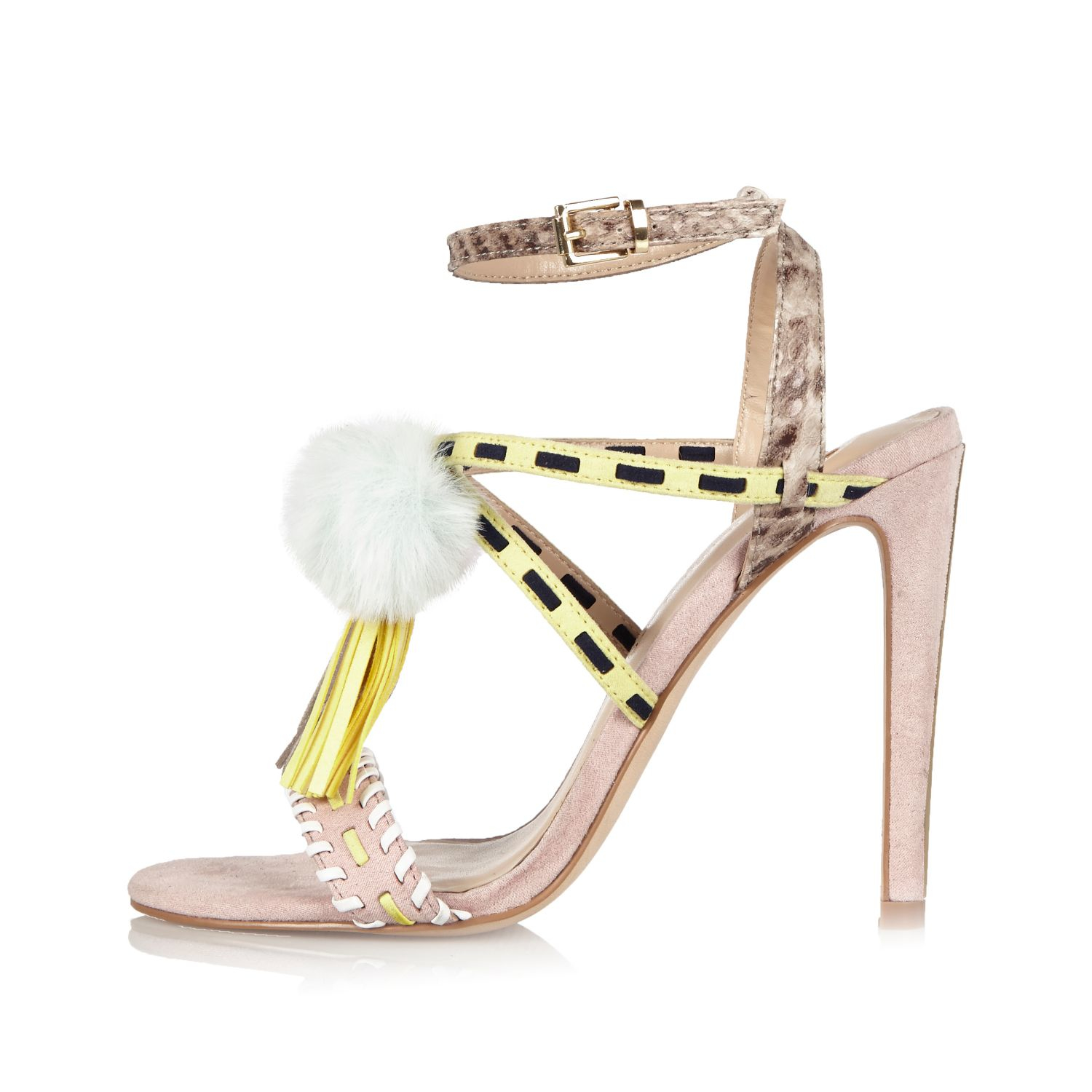 766b77e0b443 River Island Light Pink Suede Pom Pom Sandals in Pink - Lyst